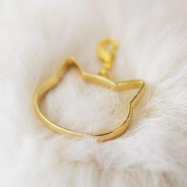Smycke guld hänge katthuvud - Furever Catlady